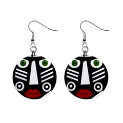 African Mask Mini Button Earrings by Valentinaart