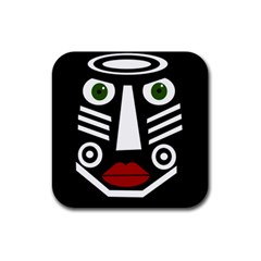 African Mask Rubber Coaster (square)  by Valentinaart