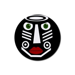 African Mask Rubber Coaster (round)  by Valentinaart