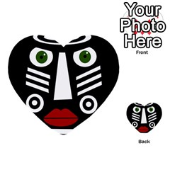 African Mask Multi Purpose Cards (heart)  by Valentinaart