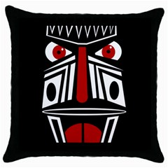 African Red Mask Throw Pillow Case (black)