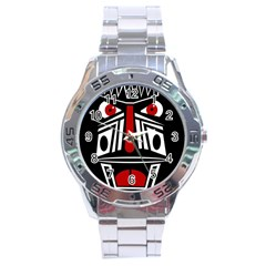 African Red Mask Stainless Steel Analogue Watch by Valentinaart