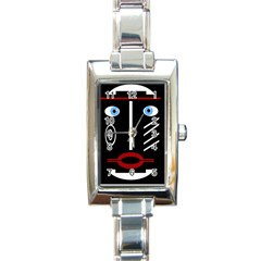 Decorative Mask Rectangle Italian Charm Watch by Valentinaart