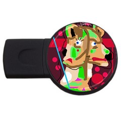 Abstract Animal Usb Flash Drive Round (2 Gb)  by Valentinaart