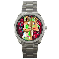 Abstract Animal Sport Metal Watch by Valentinaart