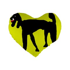 Black Dog Standard 16  Premium Flano Heart Shape Cushions by Valentinaart