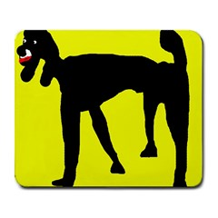 Black Dog Large Mousepads by Valentinaart
