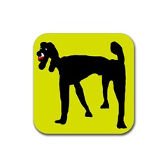 Black Dog Rubber Coaster (square)  by Valentinaart