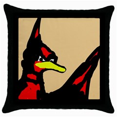 Angry Bird Throw Pillow Case (black) by Valentinaart