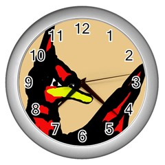Angry Bird Wall Clocks (silver)  by Valentinaart