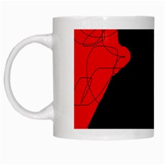 Red And Black Abstract Design White Mugs by Valentinaart