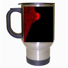 Red And Black Abstract Design Travel Mug (silver Gray) by Valentinaart