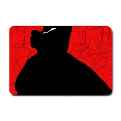 Red And Black Abstract Design Small Doormat  by Valentinaart