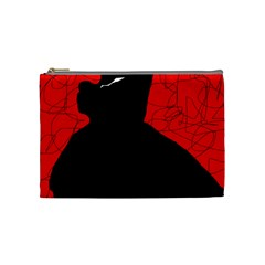 Red And Black Abstract Design Cosmetic Bag (medium)  by Valentinaart