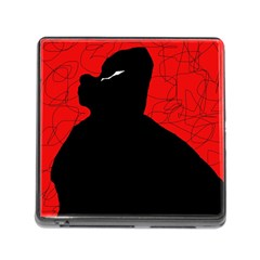 Red And Black Abstract Design Memory Card Reader (square)