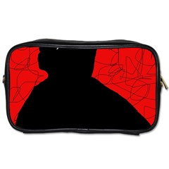 Red And Black Abstract Design Toiletries Bags