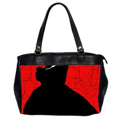 Red And Black Abstract Design Office Handbags (2 Sides)  by Valentinaart