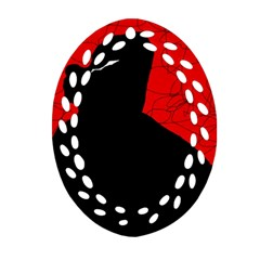 Red And Black Abstract Design Oval Filigree Ornament (2 Side)  by Valentinaart
