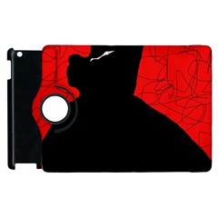 Red And Black Abstract Design Apple Ipad 3/4 Flip 360 Case by Valentinaart
