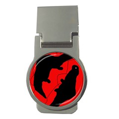 Black And Red Lizard  Money Clips (round)  by Valentinaart