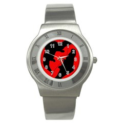 Black And Red Lizard  Stainless Steel Watch by Valentinaart