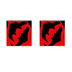 Black And Red Lizard  Cufflinks (square) by Valentinaart