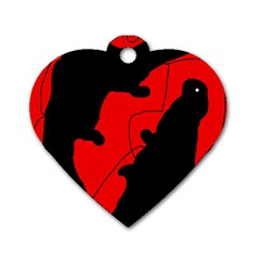 Black And Red Lizard  Dog Tag Heart (one Side) by Valentinaart
