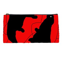 Black And Red Lizard  Pencil Cases by Valentinaart