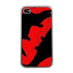 Black And Red Lizard  Apple Iphone 4 Case (clear) by Valentinaart