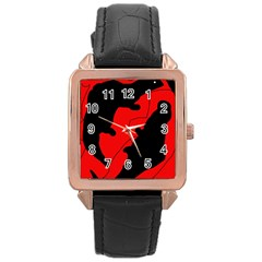 Black And Red Lizard  Rose Gold Leather Watch  by Valentinaart