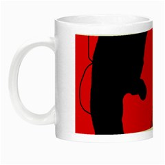 Black And Red Lizard  Night Luminous Mugs by Valentinaart