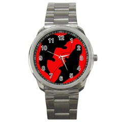 Black And Red Lizard  Sport Metal Watch by Valentinaart
