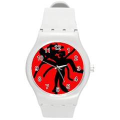 Abstract Man Round Plastic Sport Watch (m) by Valentinaart