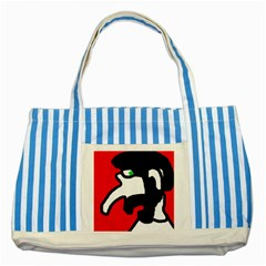 Man Striped Blue Tote Bag by Valentinaart