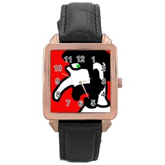 Man Rose Gold Leather Watch  by Valentinaart