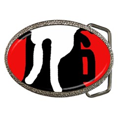 Red, Black And White Belt Buckles by Valentinaart