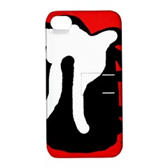 Red, Black And White Apple Iphone 4/4s Hardshell Case With Stand by Valentinaart