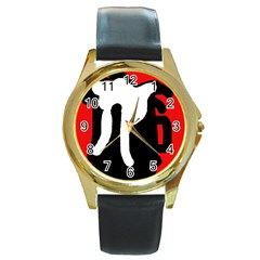 Red, Black And White Round Gold Metal Watch by Valentinaart