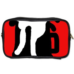Red, Black And White Toiletries Bags by Valentinaart