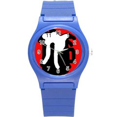 Red, Black And White Round Plastic Sport Watch (s) by Valentinaart