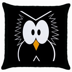 Black Owl Throw Pillow Case (black) by Valentinaart