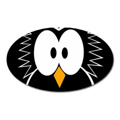 Black Owl Oval Magnet by Valentinaart