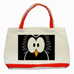 Black Owl Classic Tote Bag (red) by Valentinaart
