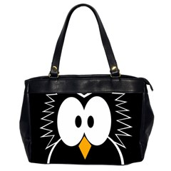 Black Owl Office Handbags (2 Sides)  by Valentinaart