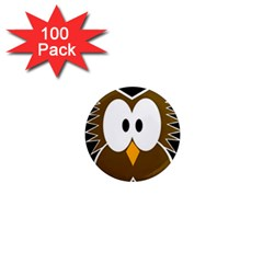 Brown Simple Owl 1  Mini Magnets (100 Pack)  by Valentinaart