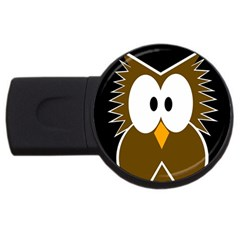 Brown Simple Owl Usb Flash Drive Round (2 Gb)