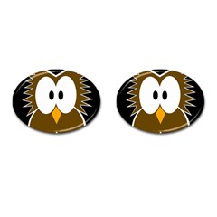 Brown Simple Owl Cufflinks (oval) by Valentinaart