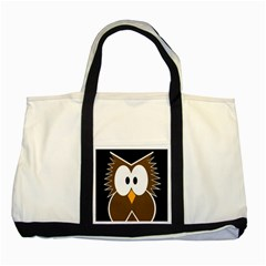 Brown Simple Owl Two Tone Tote Bag by Valentinaart