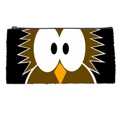 Brown Simple Owl Pencil Cases by Valentinaart