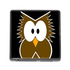 Brown Simple Owl Memory Card Reader (square) by Valentinaart